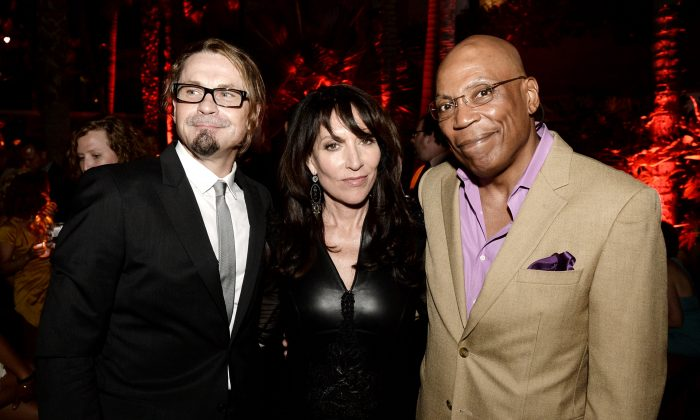 Executive producer/creator Kurt Sutter, actress Katey Sagal and executive producer/director Paris Barclay pose at the after party for the premiere of FX's 'Sons of Anarchy' Season 6 at the Roosevelt Hotel on September 7, 2013 in Los Angeles, California. (Photo by Kevin Winter/Getty Images)