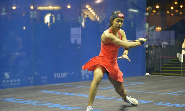 (File photo from Hong Kong Open) Nicol David won the title of the Cleveland Classic 2014 on Feb 4. 2014. Credit: (Epoch Times)
