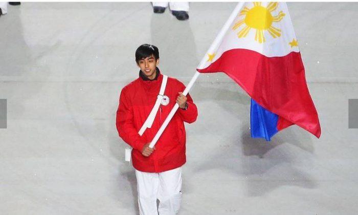 Michael Christian Martinez waving the Philippine flag at the Sochi Olympics (herald.com)