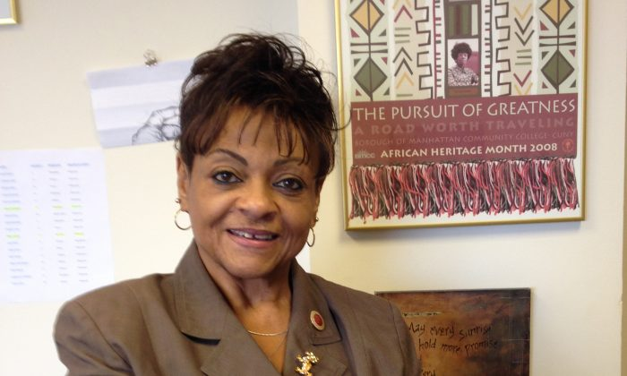 Council member Inez Dickens in her district office in Harlem, New York. (Frances Escano)