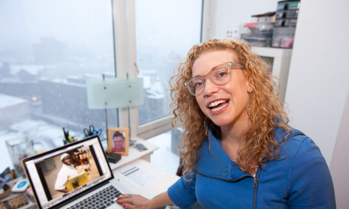 Becky Morrison, founder of Globetops, at her apartment in Brooklyn, New York, on Feb. 3, 2014 (Petr Svab/Epoch Times)