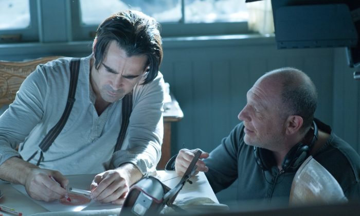 """Director Akiva Goldsman and actor Colin Farell behind the scenes for """"Winter's Tale."""" (Warner Bros. Entertainment Inc.)"""