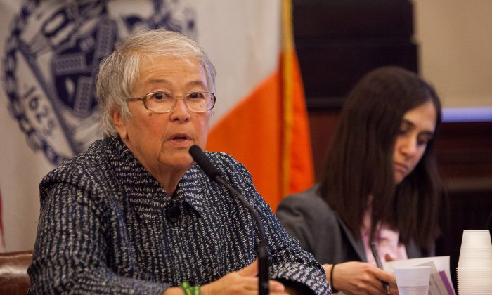 New York City Schools Chancellor Carmen Fariña testifies before a joint meeting of the Education and Women's Issues Committees at City Hall in Manhattan, New York, Feb. 11, 2014. (Petr Svab/Epoch Times)