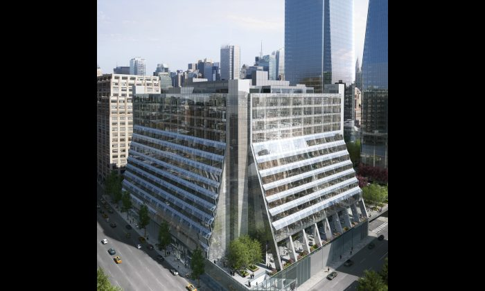 A rendering of Five Manhattan West, the redeveloped mixed-use building on 540 West 33rd Street. (REX)