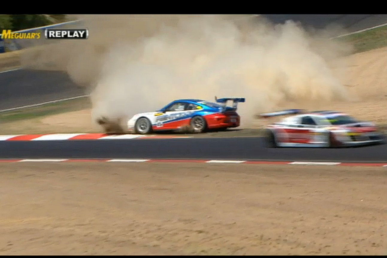 The #45B Porsche spins off track as it brakes fail. (bathurst12hour.com.au)