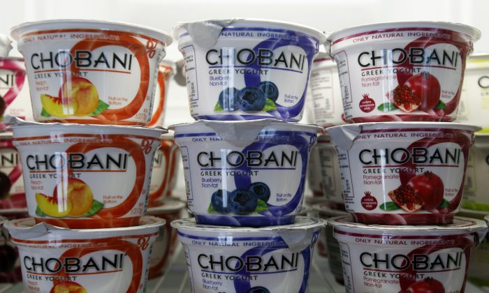 Chobani Yogurt at Chobani Greek Yogurt in South Edmeston, N.Y. Team USA sponsor Chobani, which is based in upstate New York, says it has 5,000 cups of Greek yogurt sitting in a refrigerated warehouse. (AP Photo/Mike Groll, File)