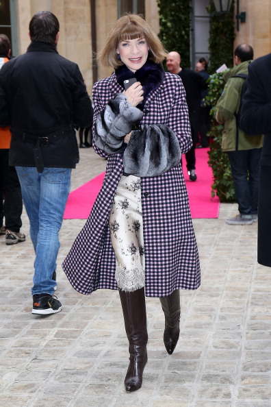 Anna Wintour attends the Schiaparelli show as part of Paris Fashion Week Haute Couture Spring/Summer 2014 in Paris, France, on Jan. 20, 2014. (Pierre Suu/Getty Images)