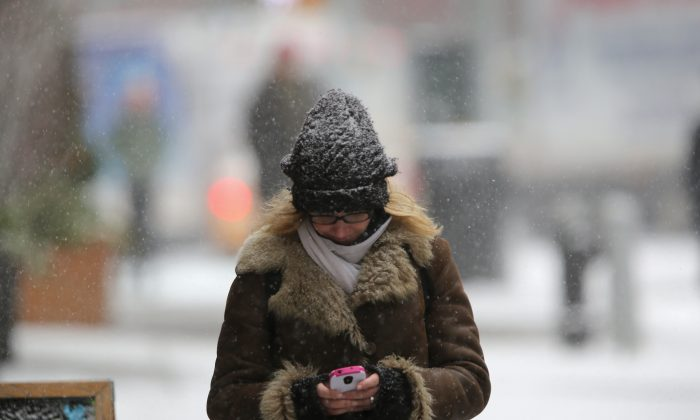 A pedestrian types on her smartphone during a snowstorm on Jan. 21, 2014, in New York City. Lawmakers want to stem the tide of cell phone theft with a remote deactivation system. (John Moore/Getty Images)