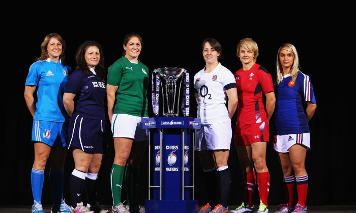 (l to r) Silvia Gaudino of Italy, Tracey Balmer of Scotland, Fiona Coghlan of Ireland, Katy Mclean of England, Philippa Tuttiett of Wales and Marie-Alice Yahe of France pose for a photo during the launch of The Women's Six Nations Championship at The Hurlingham Club on January 22, 2014 in London, England. (Bryn Lennon/Getty Images)
