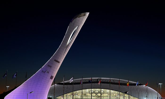 The Olympic Cauldron and Bolshoy Ice Dome are seen ahead of the Sochi 2014 Winter Olympics at the Olympic Park on February 3, 2014 in Sochi, Russia. (Robert Cianflone/Getty Images)