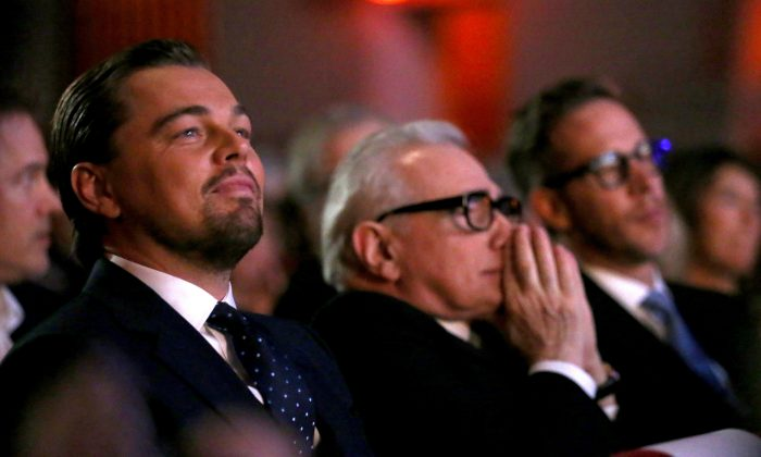 Leonardo DiCaprio and director Martin Scorsese at the Arlington Theatre in Santa Barbara, Calif., Feb. 6. Fans of DiCaprio have taken to the Internet with amusing images expressing hopes that the actor will finally win an Oscar. (Photo by Mark Davis/Getty Images for SBIFF)