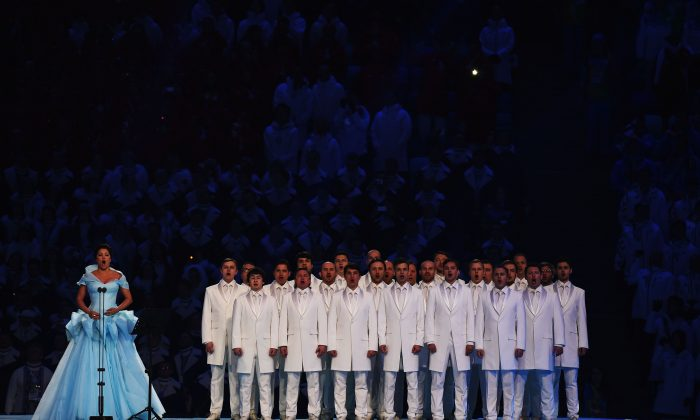 Anna Netrebko sings during the Opening Ceremony of the Sochi 2014 Winter Olympics at Fisht Olympic Stadium on February 7, 2014 in Sochi, Russia. (Photo by Pascal Le Segretain/Getty Images)