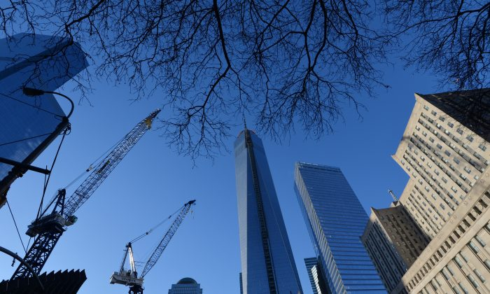 One World Trade Center, informally called 'Freedom Tower' (C) still under construction in New York Jan. 29, 2014.(STAN HONDA/AFP/Getty Images)