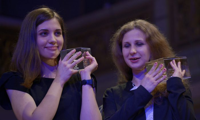 Nadezhda Tolokonnikova (L) and Maria Alyokhina of Pussy Riot--will they be in Star Wars Episode VII? (Johannes Eisele/AFP/Getty Images)