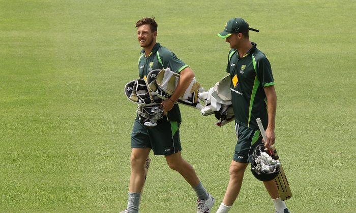 James Pattinson and Jackson Bird of Australia head to the nets during an Australia nets session at St George's Park Cricket Stadium on February 19, 2014 in Port Elizabeth, South Africa. (Morne de Klerk/Getty Images)