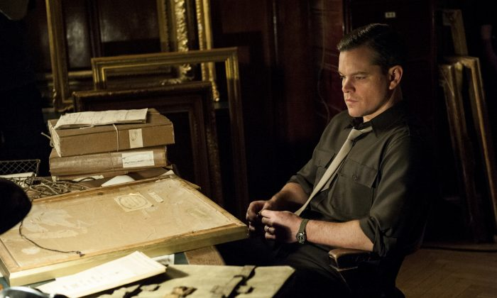 "This undated publicity photo provided by Sony Pictures Publicity shows actor Matt Damon in a scene from the Columbia Pictures film ""The Monuments Men."" (AP Photo/Sony Pictures Publicity)"