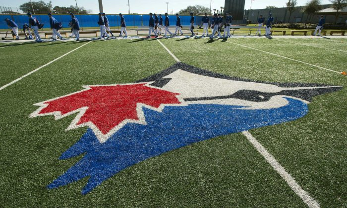 The Toronto Blue Jays walk onto the field for their first official day of spring training baseball practice on Feb. 17, 2014, in Dunedin, Fla. (AP Photo/The Canadian Press/Frank Gunn)