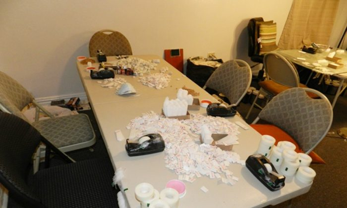 A table with packaging materials for distribution of heroin. (AP Photo/Office of the Special Narcotics Prosecutor)