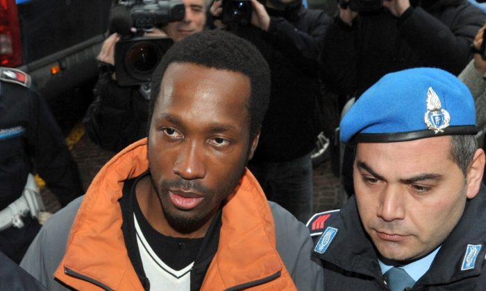 Rudy Hermann Guede, of Ivory Coast, left, on Dec. 22, 2009. (Stefano Medici/File Photo via AP)