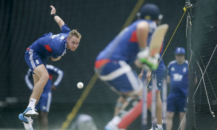 England's captain Stuart Broad bowls to Luke Wright during a practice at the Sir Vivian Richards Cricket Ground in St. John's, Antigua, Thursday, Feb. 27, 2014. England will face West Indies on three one-day internationals in Antigua and three Twenty20 matches in Barbados during their tour. (AP Photo/Ricardo Mazalan)