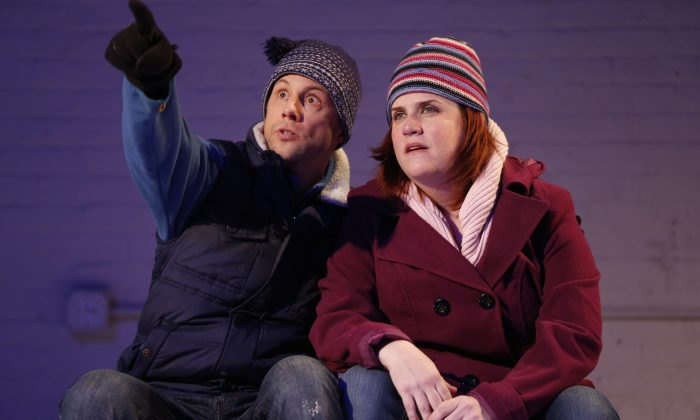 Kevin Isola and Donna Lynne Champlin in one of the vignettes about the magic and mystery that is love. (Carol Rosegg)