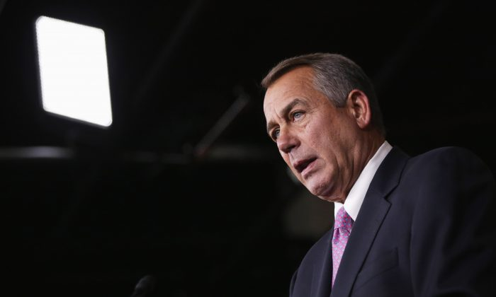 U.S. Speaker of the House Rep. John Boehner (R-OH) speaks during his weekly news conference February 6, 2014 on Capitol Hill in Washington, DC. Speaker Boehner discussed Republican agenda with members of the media at the news conference. (Alex Wong/Getty Images)
