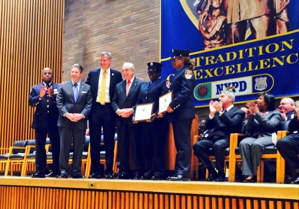 EMT workers honored at the NYPD promotion ceremony at One Police Plaza in New York on Feb. 28, 2014. (Courtesy NYPD)