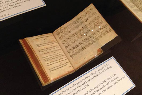 Bach's musical scores are show cased at a joint exhibitions at Houghton Library and Loeb Music Library mark the 300th anniversary of composer C.P.E. Bach's birth. (Courtesy of Beth Giudicessi)