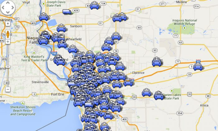 "A screenshot of Buffalo's ""jaydriving"" collisions on a Google map created by Cynthia Van Ness."