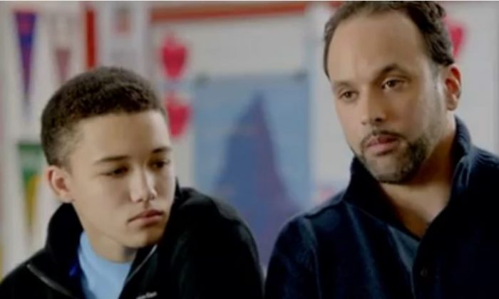 Joey (L) and Joe Herrera seen in an ad from Families for Excellent School, a charter school advocacy group in New York City. (Video still from Youtube.)