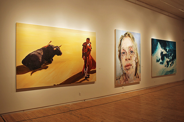 "(L-R) ""Corrida In Ronda 4"" by Eric Fischl, ""Bleach"" by Jenny Saville, and ""Coastline Measure"" by Mark Tansey. (Courtesy of New York Academy of Art)"
