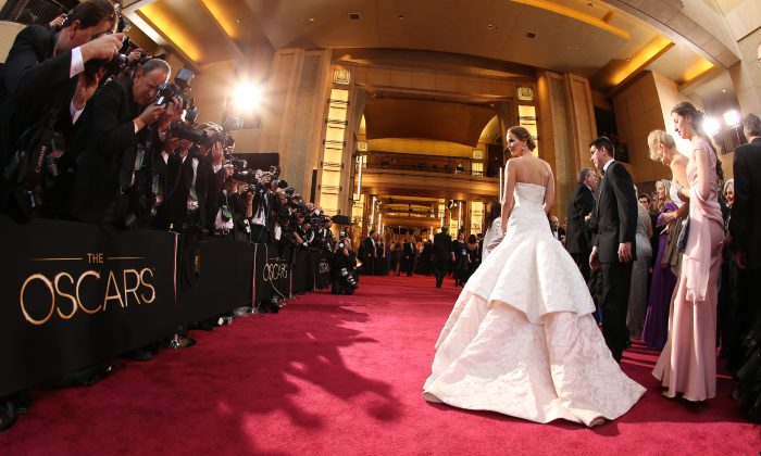 Actress Jennifer Lawrence arrives at the Oscars held at Hollywood & Highland Center on Feb. 24, 2013, in Hollywood, Calif. (Christopher Polk/Getty Images)