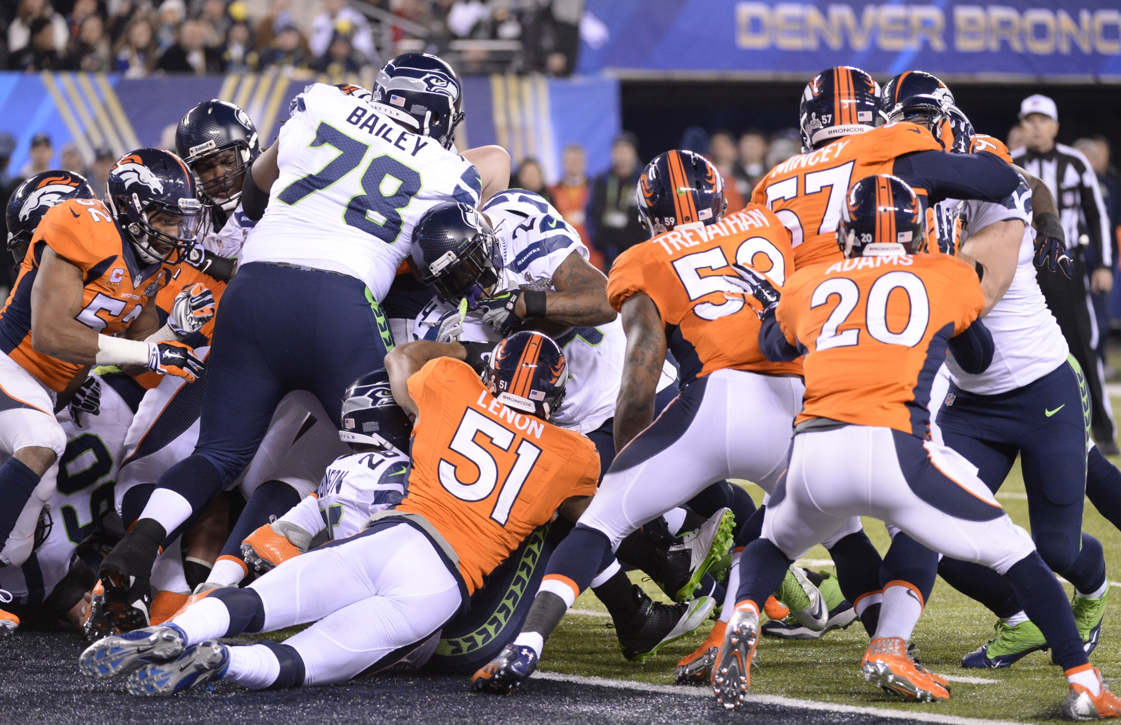 Marshawn Lynch (#24) of the Seattle Seahawks scores a 1-yard touchdown against the Denver Broncos during Super Bowl 48 at MetLife Stadium in East Rutherford, New Jersey, on February 2, 2014. (Timothy A. Clary/AFP/Getty Images)