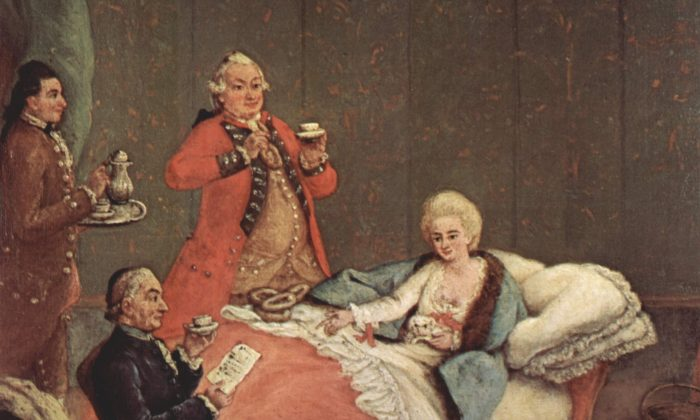 """""""La Cioccolata del Mattino,"""" or The morning chocolate,"""" by Pietro Longhi (1702–1785). Before industrial processes, chocolate was considered a luxury, and only the wealthy drank it."""