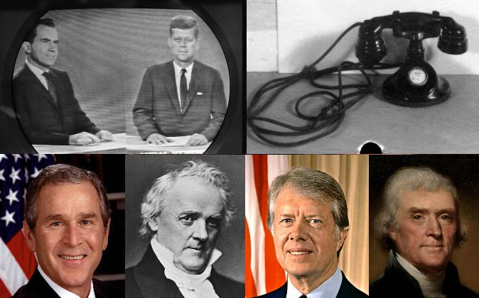The first televised presidential debate, Kennedy-Nixon (AP Photo); The first telephone in the White House; Presidents George W. Bush, James Buchanan, Jimmy Carter, and Thomas Jefferson. (Wikimedia Commons)