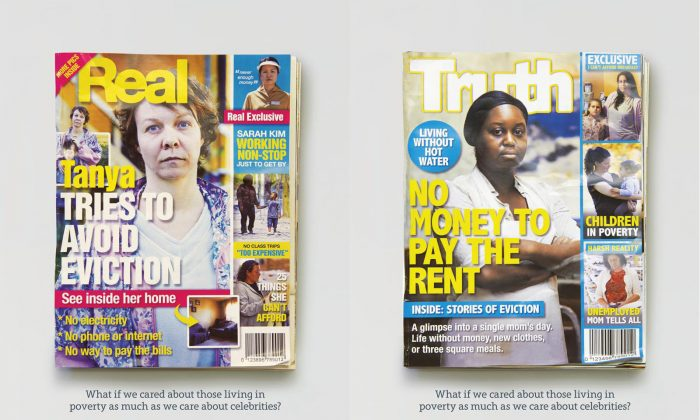 The daily realities of struggling single mothers are featured on the covers of fake tabloid-style magazines in an unusual new ad campaign. (Courtesy WoodGreen Community Services)