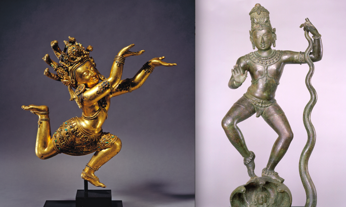"""Nagaraja,"" (L) coming to Asia Society's Golden Visions of Densatil exhibit, opening on Feb. 19, and ""Krishna Dancing on Kaliya,"" (R) on view at Asia Society's Tales of Wonder exhibit. (Lynton Gardiner and Richard Goodbody/ Asia Society)"
