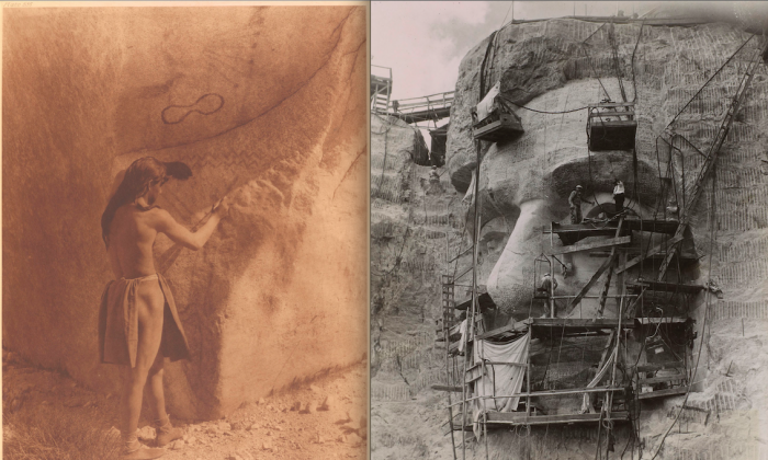 """Two photos in the Morgan's exhibit A Collective Invention that share the concept """"rock art."""" The exhibit is organized around a chain of keywords. (Morgan Library & Museum)"""