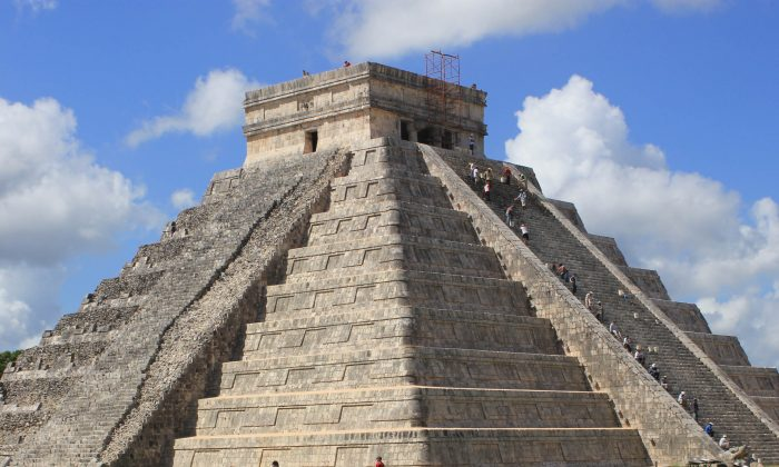 The Temple of Kulkulkan, also known as El Castillo, counts 91 steps on each of the temple's four sites with the top platform making the 365th—one step for each day of the year. The pyramid is nearly 100 feet high. (Wibke Carter)