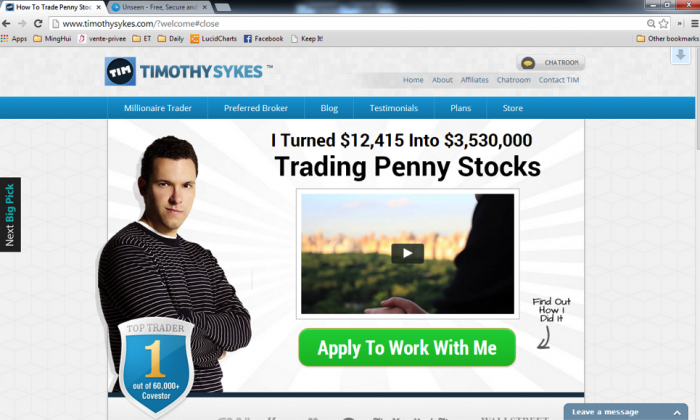 Timothy Sykes's website www.timothysykes.com (Screenshot)