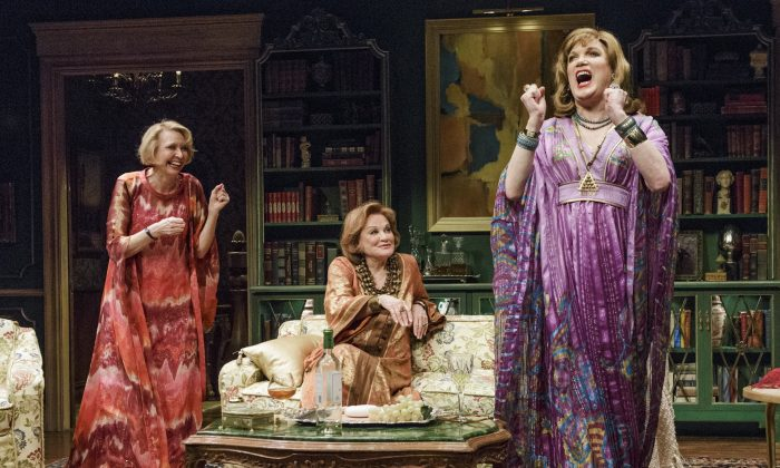 (L–R) Julie Halston, Cynthia Harris, and Charles Busch in a New York apartment that is just too wonderful to give up. (James Leynse)