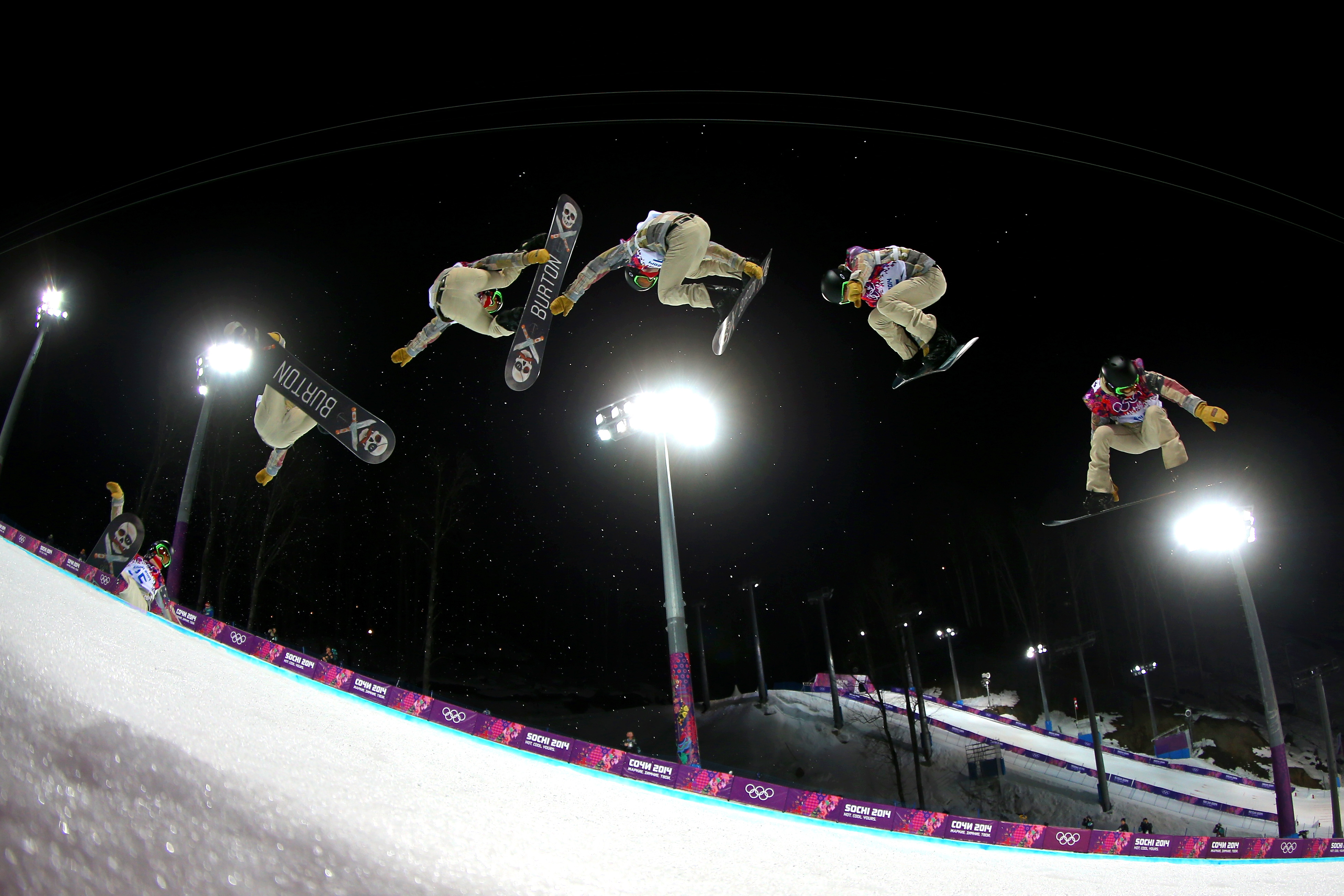 Shaun White practices before the Snowboard Men's Halfpipe Finals at Sochi (Editors Note: Multiple exposures were combined in camera to produce this image.) (Mike Ehrmann/Getty Images)