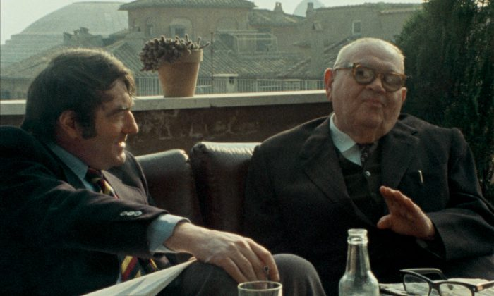 Director Claude Lanzmann (L) filmed a series of interviews with Benjamin Murmelstein (R), the last president of the Jewish Council in the Theresienstadt ghetto in Czechoslovakia. (Cohen Media Group)