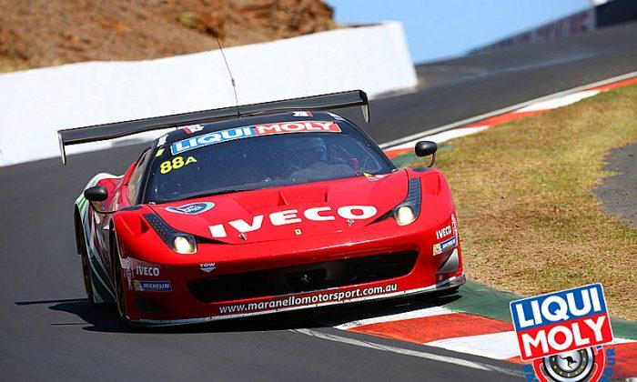 Craig Lowndes in the #88 Il Bello Russo Ferrari took the lead of the Bathurst 12 Hours just past the four-hour mark. (bathurst12hour.com.au)