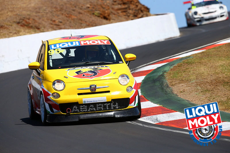 The F Class is composed of Fiat Abarth 500s—tiny cars with 1.4-liter engines which lack top speed buyt have amazing handling and braking. The #96 Fiat Abarth Motorsport Abarth 500 led the class with four hours to go. (bathurst12hour.com.au)