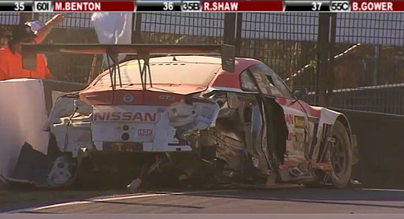 A screenshot of the #32 Nismo Nissan jammed against the wall a few hundred yards down the track from the wreckage of the ferrari. (bathurst12hour.com.au)