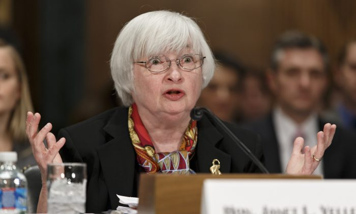 Federal Reserve Chair Janet Yellen testifies before the Senate Banking Committee, in Washington D.C., Feb. 24, 2014. (AP Photo/J. Scott Applewhite)