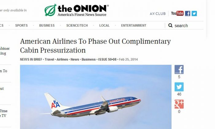 American Airlines is not going to cut cabin pressurization or landing gear unless customers pay for it. It's satire from The Onion (Screenshot/The Onion)