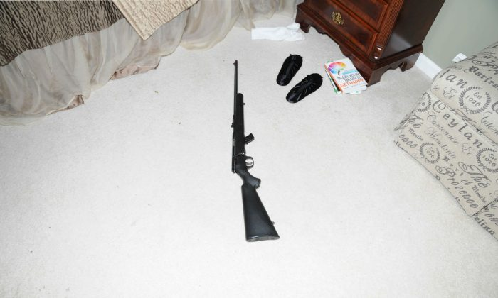 A file photo shows a .22 caliber rifle found in the home of Adam Lanza the shooter in the Sandy Hook Massacre that left 26 dead in December 2012. The incident was used as motivation to pass the Connecticut gun law that is now being ignored by some. (Connecticut State Police via Getty Images)