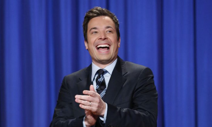 """This April 4, 2013 file photo released by NBC shows Jimmy Fallon, host of """"Late Night with Jimmy Fallon,"""" in New York.  Fallon will debut as host of his new show, """"The Tonight Show with Jimmy Fallon,"""" on Feb. 17. (Lloyd Bishop/AP Photo/NBC)"""